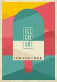 Retro geometric concept for ice cream on creative artistic background Royalty Free Stock Photography