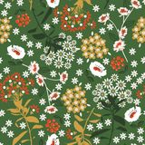 Retro Geometric dense blooming flower and leaf in the dark ,col. Orful mood for fashion fabric,wallpaper and all prints on dark green background seamless pattern royalty free illustration