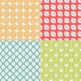 Retro geometric floral pattern. Simple repeating texture with leaves. Minimalistic colorful background. Seamless vector flat design with naturalistic motif Stock Images