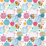 Retro geometric hexagon seamless pattern Stock Photo