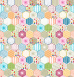 Retro geometric hexagon seamless pattern with owls Stock Photos