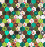 Retro geometric hexagon seamless pattern with owls Stock Images