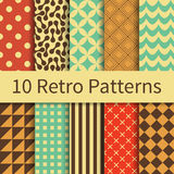 Retro geometric patterns. 10 Retro geometric different vector seamless patterns, tiling. Endless texture can be used for wallpaper, pattern fills, web page Stock Image