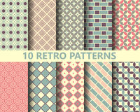 10 retro geometric patterns. Pattern Swatches, vector, Endless texture can be used for wallpaper, pattern fills, web page,background,surface Stock Photo