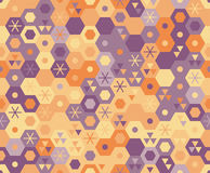 Retro geometrisch hexagon naadloos patroon Stock Afbeelding