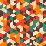 Retro geometrisch patroon met grungetextuur Stock Fotografie