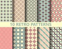 10 retro geometrische patronen vector illustratie