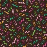 Retro Geometrische Patroon van Memphis Style Vector Seamless Abstract Heldere kleuren op donkere achtergrond vector illustratie