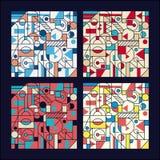Retro geometrisk abstrakt sömlös bakgrundsdesign Modernt mönstra Uppsättning royaltyfri illustrationer