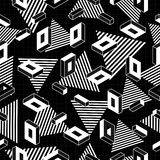 Retro geometry seamless pattern in black and white. Black and white retro seamless pattern with geometric shapes in 80s pop art fashion style. Ideal for web royalty free illustration