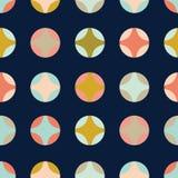 Retro geometryczni okręgi na zmroku siwieją bezszwowego wzór ilustracja wektor