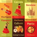 Retro geplaatste affiches van Spanje Stock Foto