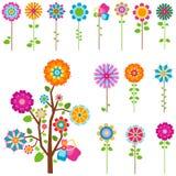 Retro geplaatste bloemen Stock Afbeeldingen