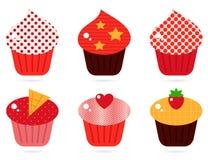 Retro geplaatste cupcakes Stock Afbeeldingen