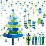 Retro Geplaatste Elementen van het Kerstmisontwerp Royalty-vrije Stock Afbeeldingen