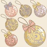 Retro geplaatste Kerstmisballen vector illustratie
