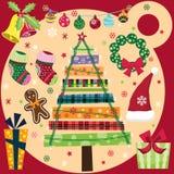 Retro Geplaatste Kerstmiselementen Stock Afbeeldingen