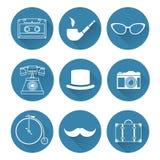 Retro geplaatste pictogrammen Stock Foto's