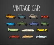 Retro geplaatste pictogrammen, de verschillende auto's van de silhouetvorm Royalty-vrije Stock Foto's