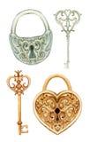 Retro geplaatste sleutels en sloten stock illustratie