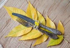 Retro- Geräte der Abendessenweinlese gabeln und Messer auf gelbem Herbst Stockfotos