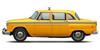 Retro geruit geel de taxi zijaanzicht van New York Stock Afbeelding