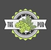Retro gestileerd etiket van bier, voor Bierhuis, Brouwend Bedrijf, Bar, Bar Stock Afbeelding