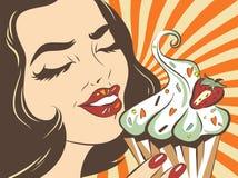 Retro gestileerde genietende van vrouw Pop-artillustratie van meisje met cake Klerendruk Koffie reclameaffiche Uitstekende advert Royalty-vrije Stock Afbeeldingen