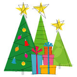 Retro-gestileerde Kerstbomen stock illustratie