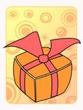Retro gestileerde oranje verjaardagsgift Stock Afbeeldingen
