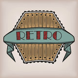 Retro gestileerde uitstekende oude sticker van het stijlembleem logotype met inscri royalty-vrije illustratie
