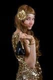 Retro gestileerde vrouw in kleding met fonkelingen royalty-vrije stock foto