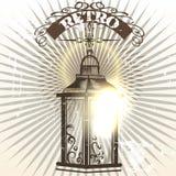 Retro- gezeichnete Vektorlampe und -fahne der Illustration Hand Lizenzfreie Stockfotografie