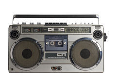 Retro ghetto blaster with clipping path. Retro ghetto blaster isolated on white background with clipping path Royalty Free Stock Photography