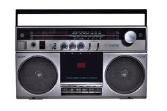 Retro ghetto blaster isolated on white Royalty Free Stock Photography