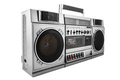 Retro ghetto blaster isolated on white with clipping path Royalty Free Stock Photos