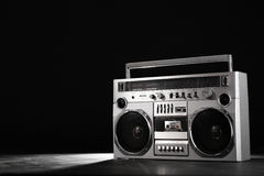 Retro ghetto music blaster isolated on black with clipping path Stock Photography