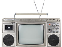 Retro ghettoblaster television. A fantastic looking retro ghetto blaster with built in television Stock Photos
