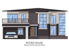 Retro ghostly big house with muscle car, real estate sign in flat style. Vector illustration.  Royalty Free Stock Photo
