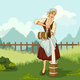 Retro gietende melk van de vrouwenkoeienmelkster vector illustratie