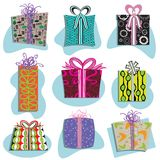 Retro Gift Boxes Icons. In many fun patterns Royalty Free Stock Images