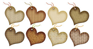 Retro gift tags in the form of heart. Stock Photo