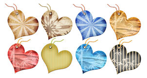 Retro gift tags in the form of heart. Stock Photos