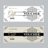 Retro gift voucher and a place for text, logo, contact information. Royalty Free Stock Photo