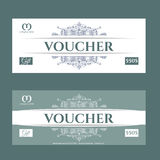 Retro gift voucher and a place for text, logo, contact information. Royalty Free Stock Photography