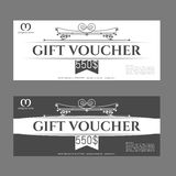 Retro gift voucher and a place for text, logo, contact information. Stock Images