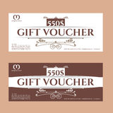 Retro gift voucher and a place for text, logo, contact information. Royalty Free Stock Image