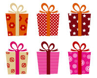 Retro gifts set. Set of patterned gift boxes for birthday / xmas. Vector Illustration Royalty Free Stock Images