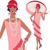 Retro giovane bella ragazza di stile degli anni 20 Royalty Illustrazione gratis