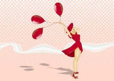 Retro girl. Picture in retro style, a beautiful blonde girl in a red dress and red hat, holds 3 red balloon on a pink background with halftone texture Royalty Free Stock Image